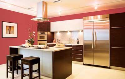 Cocina grande pintada de color rojo