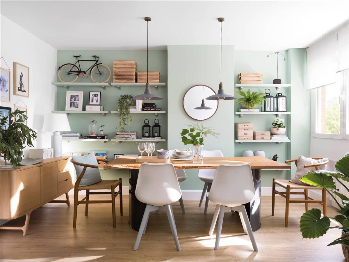 salón con pared color verde NovaDecora pintores en Madrid pintores en Segovia